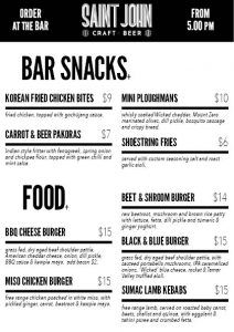 Food menu for website